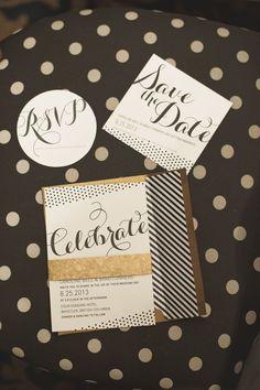 polka dot and stripe modern wedding invitations