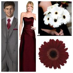 nice grey and burgundy combo.  gerber flowers in white for michele.  red gerber, peonies and roses for me.