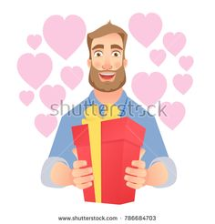 Valentine's Day. Young man is gives present. Hands holding red present box. Stock photography, images, pictures, Illustrations, ideas. Download vector illustrations and photos on Shutterstock, Istockphoto, Fotolia, Adobe, Dreamstime