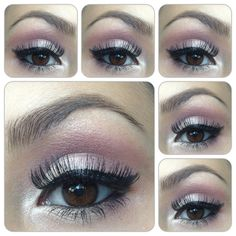 All e.l.f. products used. Cream shadows in the shades Candlelight and Eggplant used as a base. Used the pink and white colors over that from the NYC Palette. e.l.f. liquid liner.