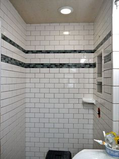 Bathroom Subway Tile Accent my new bathroom. subway tile bathtub with sea green mosaic accent