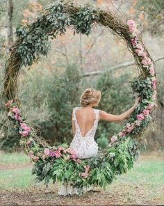 Rustic wedding grapevine large wreath decorated with greenery. Absolutely stunning rustic wedding decor and backless wedding dress Wedding Trends, Boho Wedding, Floral Wedding, Rustic Wedding, Wedding Ceremony, Wedding Flowers, Dream Wedding, Wedding Day, Wedding Dresses