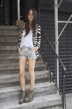 Arielle from Something Navy in J Brand shorts