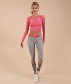 c8f34d5b61435 Gymshark Flex Leggings, Grey Leggings, Long Sleeve Crop Top, Pink Grey,  Fitness
