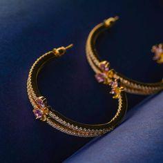 Designer Open Loop Earrings design in rose gold. Gold hoop earrings studded with Austrian crystals. Gold plated earrings hoops. Fashion earrings for girls. Gold Plated Earrings, Gold Hoop Earrings, Statement Earrings, Women's Earrings, Fashion Earrings, Fashion Jewelry, Women Jewelry, Girls Earrings, Gold Gold
