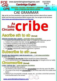 """Ascribe"", ""subscribe"" and ""circumscribe"" are three formal verbs with different meanings that you can start using straight away.Together with the appropriate grammar,  message and vocabulary , they will round out your writing pieces and make them stand out.  Have a look at the sheet below to learn when and how to use these three formal verbs. FCE, CAE, CPE Cambridge English Writing paper"