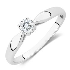 Solitaire Engagement Ring with a 0.20 Carat Diamond in 10ct White Gold