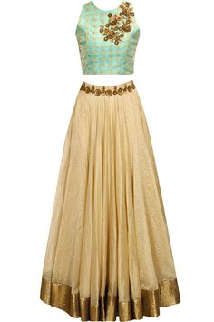 Sea green and gold floral sequins embroidered lehenga set available only at Pernia's Pop-Up Shop.