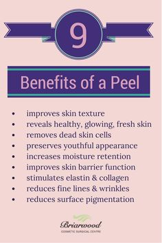 9 Benefits of a Peel. Chemical peels are available at Orlando medical Spa Winter Park Laser with experienced estheticians. www.winterparklaser.com #chemicalpeels