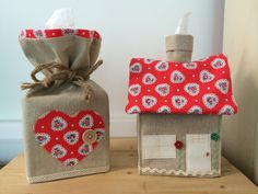 my hand made tissue box covers made from irish natural calico & cath kidson fabric the heart one is £5 and the house style is £7.50