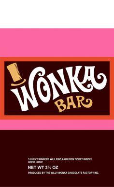 Wonka Bar (Willy Wonka and the Chocolate Factory) - a world of pure imagination Wonka Chocolate Factory, Charlie Chocolate Factory, Willy Wonka, Ticket Dorado, Chocolate Bar Wrappers, Chocolate Bars, Candy Bar Wrappers, Chocolate Wedding Favors, Baby Shower Invitaciones