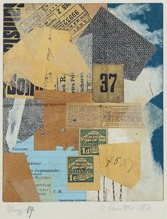 """DADA~ Kurt Schwitters, Merz 19, 1920. Paper collage, approx. 7 1/4"""" x 5 7/8"""". Yale University Art Gallery, New Haven, (gift of Collection Société Anonyme)."""