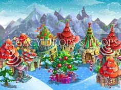 Christmas in Who Town - Christmas Village Display, Christmas Town, Christmas Art, Christmas Things, Christmas Doodles, Christmas Cartoons, Christmas Drawing, Christmas Backdrops, Christmas Decorations