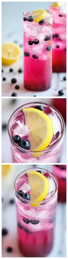Blueberry Lemonade - Made with a super easy blueberry syrup, this lemonade is so refreshing, sweet and tangy. It's the perfect way to cool down on a hot day! And no alcohol! Party Drinks, Cocktail Drinks, Fun Drinks, Yummy Drinks, Healthy Drinks, Yummy Food, Cold Drinks, Blueberry Syrup, Blueberry Lemonade