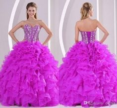 Wholesale 2014 Exquisite Sweetheart Ball Gown Floor length Exposed Boning Rhinestone Crystal Beads Contoured Flouncing Organza Quinceanera Dresses, Free shipping, $117.66/Piece | DHgate Mobile