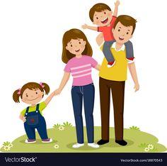 Portrait of four member happy family posing Vector Image Happy Family, My Family, Cartoon Familie, Family Illustration, Family Images, Family Posing, Cute Drawings, Children, Kids