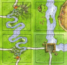 Carcassonne la rivière non-officielle. Unofficial tiles the river. Viking Axe, Board Game Design, Modern Games, Diy Games, Tabletop Games, Chess, Card Games, Vikings, Medieval