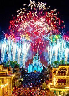 Magic Kingdom, Wishes fireworks show! Castle Cinderella's Castle - Golden Dreams Wishing Well, Magic Kingdom - Walt Disney World Mountain tr. Disney Vacations, Disney Trips, Disney Parks, Walt Disney World, Sea World, Epcot, Wishes Fireworks, Fireworks Craft, Chateau Disney
