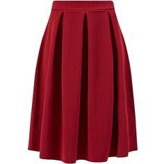 Cameo Rose Burgundy Pleated Midi Skirt found on Polyvore