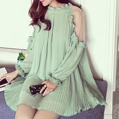 Stylish Long Sleeve Pure Color Hollow Out Chiffon Dress For Women