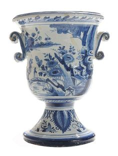 large blue and white urns | large blue and white flower urn possibly London, first half 18th ...