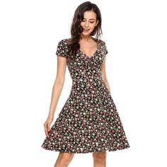 Dresslink - Dresslink Black Plunge Neck Cap Sleeve Floral A-Line Dress - AdoreWe.com