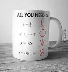 All You Need Is Love Math Mug These simple Mugs have a capacity of and are stackable for quick and easy use in a fast paced and busy environment. Made from high quality ceramic and these Mugs are fully vitrified for heat and shock. Math Teacher, Teacher Gifts, Cute Gifts, Diy Gifts, Funny Gifts, Geek Gifts, Diy Cadeau, Math Jokes, Algebra Humor