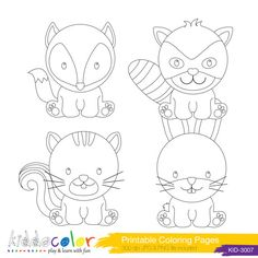 Printable Cute Woodlands Animals Coloring Pages Digital Stamp