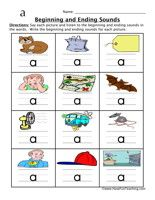 Beginning Ending Sounds Worksheet with CVC words (Free)