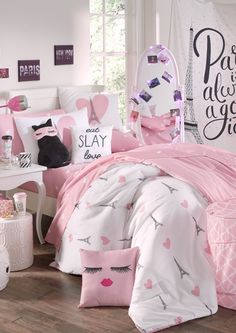 image of Twin Eiffel Hearts Comforter Set Cute Bedroom Ideas, Girl Bedroom Designs, Room Ideas Bedroom, Bedroom Sets, Girls Bedroom, Bedroom Decor, Bedrooms, Dream Rooms, Dream Bedroom