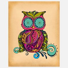 {groovy Owl} Green Girl Canvas - print of hand-drawn ink illustration