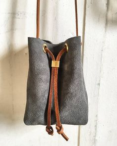 Suede cinch bag