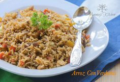 Arroz Con Verduras: 1 1/2 Cups short grained rice {uncooked} 2 1/2Cups water  For the gravy: 2 Cups cilantro 8 Leaves spinach  8 Leaves basil  1 Big onion chopped  3 Garlic minced 1 Yellow bell pepper 2 Carrots finely chopped 3 Tbs oil Salt to taste
