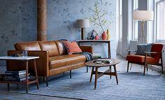 Warm Modern Loft Living Room   west elm