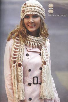 Sombrero y bufanda con trenzas