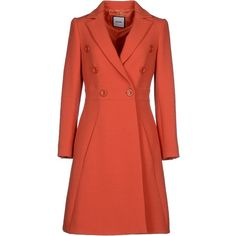 Moschino Coat (741.755 CLP) ❤ liked on Polyvore featuring outerwear, coats, orange, moschino coat, orange coat, double breasted coat, long sleeve coat and lapel coats