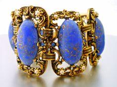 SELRO Unsigned Bracelet Blue Thermoset Glitter by RenaissanceFair