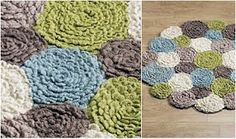 crochet flower rug Flower Rug from MarksandSpencer Small Sewing Projects, Yarn Projects, Knitting Projects, Crochet Projects, Crochet Home, Crochet Crafts, Crochet Yarn, Crochet Flowers, Floral Rug