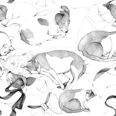 Sleeping cats & dogs pattern by Ana Laura Perez