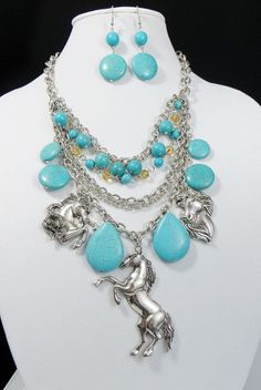 Cowgirl Bling HORSE EQUINE Southwestern Silver Turquoise Stone Gypsy necklace set  our prices are WAY BELOW RETAIL! all JEWELRY SHIPS FREE! www.baharanchwesternwear.com baha ranch western wear ebay seller id soloedition