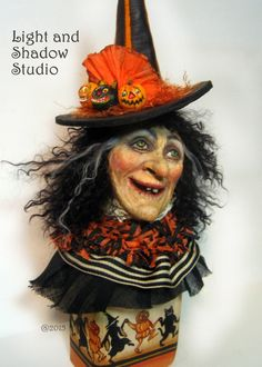 "Image of ""Madame Ruby"" Original Witch sculpture by Tammy Strum Halloween art"