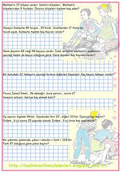 ilkokul ödevleri: 2. ve 3. sınıf 4 işlem problemleri