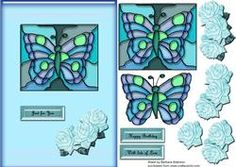 Stained Glass Butterfly With Roses Blue