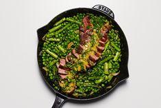 Skillet Steak with Veggies & Mint-Mustard Sauce is an elegant, but easy, dinner. Steak, peas & asparagus cook together in one pan! Skillet Steak, One Skillet Meals, Skillet Recipes, Healthy Recipes, Beef Recipes, Cooking Recipes, Healthy Food, Healthy Eating, Muesli