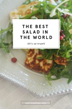 I don't want to be bossy and tell you what to do, but I think I'm about to. YOU HAVE TO TRY THIS SALAD. Oh gosh, I AM so bossy but it really is the best salad in the world. And whenever I say those words in my head, I hear the words to that. Best Salad Recipes, Salad Dressing Recipes, Vegetarian Recipes, Cooking Recipes, Healthy Recipes, Hallumi Recipes, Paleo Meals, Vegetarian Options, Salad Dressings