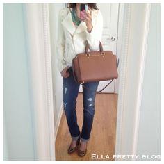 Forever21 Studded Tweed Jacket, GAP jeans, Target leopard heels, MICHAEL Michael Kors Luggage Selma