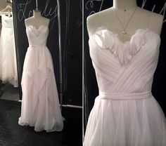 The Julie gown features a delicate petal sweetheart neckline, and is available at both our NYC and LA shops!