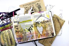 Bible Art Journaling von Rebecca Sawatsky in Kolosser 3 Vers 14 + 15, Colossians 3:14-15 material vintage paper, sewing patterns, fabric. Check ©bibleartjournaling.de