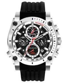 Bulova Men's Chronograph Precisionist Black Rubber Strap Watch 47mm 98B172