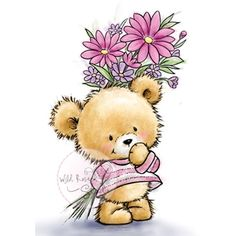 Wild Rose Studio Clear Stamp - Teddy With Flowers now available at The Rubber Buggy Tatty Teddy, Art D'ours, Cute Teddy Bears, Bear Art, Cute Illustration, Clear Stamps, Cute Cartoon, Cute Drawings, Cute Pictures